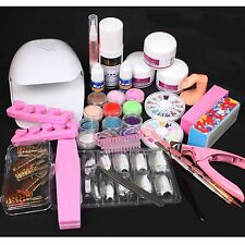 Professional White Nail Dryer Blower Acrylic Liquid Powder Form Tip Tool Kit Set