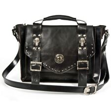 New Rock Luxury Bag Gothic Genuine Black Grey Cow Leather Tote Handbag - [SO]