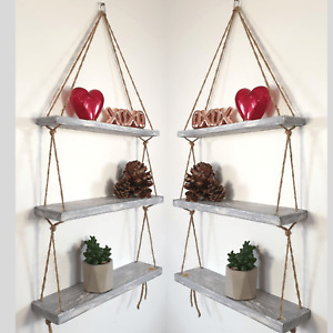 Rustic Shabby Chic Handmade Rope Shelves Wooden Natural Wood Hanging 3 Tier 40cm