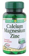 100 Calcium Magnesium Zinc Nature's Bounty Bone Health Minerals Vitamins D3 NEW