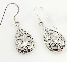 Wholesale 925 sterling Silver Filigree Teardrop Dangling Earrings