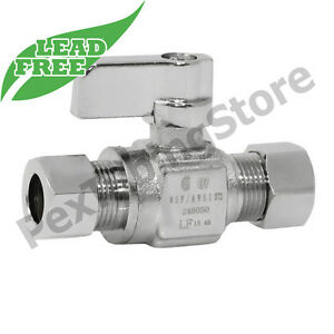 """(10) 3/8"""" OD Compression Straight Outlet Stop Valve, LEAD-FREE Brass, 1/4-Turn"""