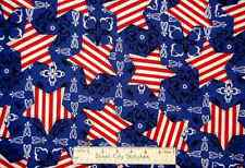 Independence Day Patriotic Bandanna Stars Country Western Cotton Fabric YARD