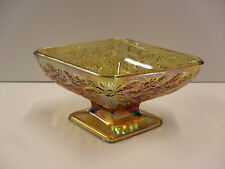 Vintage Indiana Glass Amber Carnival Compote Pineapple Diamond & Floral Comport