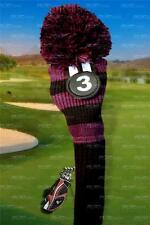 NEW BLACK PURPLE KNIT hybrid headcover # 3 Rescue UTILITY golf club Head cover