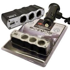 MULTI CAR CIGARETTE LIGHTER SPLITTER 12V/24V 4 WAY SOCKET USB PLUG CHARGER MP3