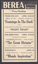 1941 Berea Theatre Oh Classic Movie The Great Dictator C Chaplin, See Info