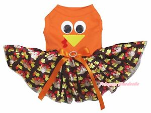 Thanksgiving Turkey Face Orange Cotton Top Brown Turkey Tutu Pet Dog Puppy Dress