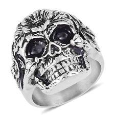 Halloween Black Oxidized Stainless Steel Skull Men's Ring Size 12.0 New w/Gift B