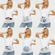 Women Maternity Clothing Pregnant T Shirt Funny Top Cute Baby Print O-Neck