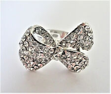 Cocktail Ring Crystal Diamante Bow Design Adjustable Size