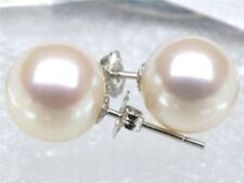 TOP AAA Japanese Akoya Cultured Pearl 7.5-8mm 14K Solid White Gold Stud Earring