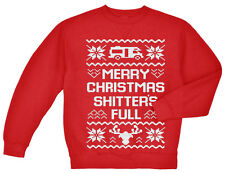 Ugly Christmas sweater gift for men funny sweatshirt merry xmas shitters full
