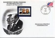 Ley de la segunda guerra mundial 1941 Roosevelt insta a la neutralidad cambios Sello Cubierta (EE. UU./Danbury Mint)