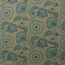 "RICHLOOM CIMMARON COBALT BLUE TURQUOISE FLORAL VINE LINEN FABRIC BY YARD 54""W"