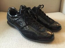 ECCO BLACK SUEDE PATENT LACE UP OXFORDS SIZE 37
