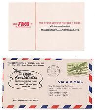 1946 HOWARD HUGHES 1st FLIGHT  SOUVENIR COVER TRANSCONTINENTAL TWA CONSTELLATION
