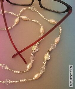 Silver & Pearls Eye Glasses Holder Necklace Lanyard HANDMADE,, Fashion Accessory