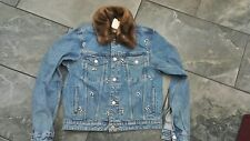 NWT H & M WOMENS DENIM JACKET RHINESTONES PEARLS 8