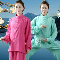 Womens Cotton Linen Yoga Tai Chi Sets Loose Uniform Martial Arts Kung Fu Suit