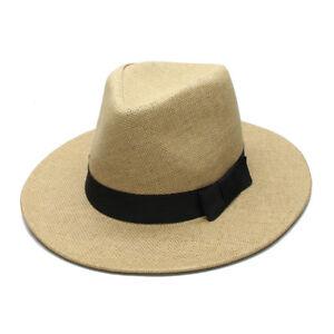 Ladies Women Straw Panama Hat Wide Brim Fedora Summer Beach Sun Hat Black Ribbon