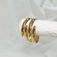 Polished Gold Tone Interlocking Prongs Hinged Clamper Statement Bracelet
