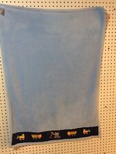 Small Wonders Plush Blanket Boy Blue Construction Trucks Baby 30x40 Free Ship