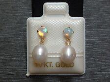 Exclusive Opal & Perlen Ohrstecker - 14 Kt. Gold - 585 - Ohrringe - sehr edel !