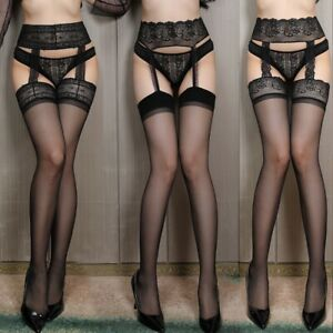 Sexy Hollow Out Fishnet Tights Suspender Pantyhose Thigh-High Stockings Black