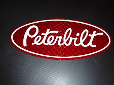 3 Peterbilt Red diamond plate vinyl Grill Hood Decal EmblemsTruck Semi