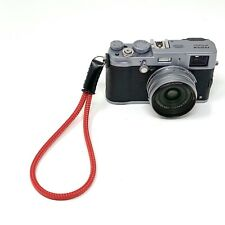 """Cordy Slim"" Silky Red Cord / Rope & Leather Camera Wrist Strap - Cordweaver"