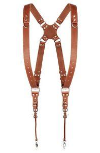Leather Shoulder Strap Harness Dual Camera Quick Release Orange Adjustable Size
