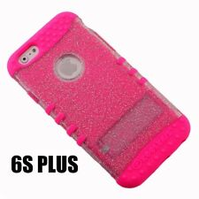 For iPhone 6+ / 6S+ Plus -HYBRID IMPACT ARMOR CASE COVER PINK CLEAR GLITTER