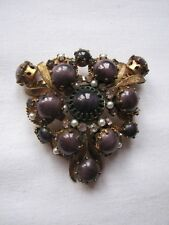 Vintage Large Deco Czech Brooch Pin Purple Glass Faux Pearls Diamante