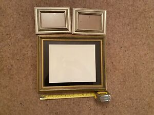 3 silver/gilt picture frames