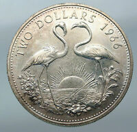 1966 The BAHAMAS Elizabeth II FLAMINGO Birds LARGE SILVER 2 Dollars Coin i85516