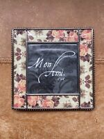 "Metal & Glass Bevelled Edge Style Floral Designed Picture Photo Frame 4"" X 4"""