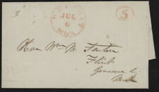 1848 US Stampless folded letter w/red Detroit Mich. pmk to Flint, Michigan