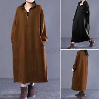 Mode Femme Sweat-shirt Robe Casual en vrac Manche Longue Col roulé Dresse Plus
