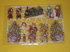1x Poesiebilder Oblaten Glanzbilder Weihnachten Baum 243 Lokomotive Santa Kinder