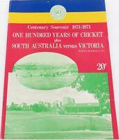1971 SOUTH AUSTRALIAN CRICKET CENTENARY SOUVENIR 1871-1971 + S/AUST v VIC SHIELD