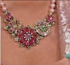 "Heidi Daus ""Glorious Garden"" Crystal Floral Necklace Pink Multi STUNNING! NIB"