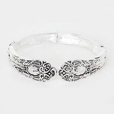 Spoon Stretch Bracelet Vine Design Handle Curlique Metal SILVER Filigree Jewelry
