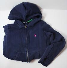 Ralph Lauren Girls Medium Zipper Blue Hoodie Jacket w Ruffles + Pink Pony