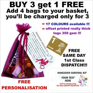 Personalised Hangover Survival Kit pre filled bags, Hen Party, Bride To Be