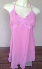 Pacific Blue Pink Camisole Tank Large NWT New Sheer Sequin Trim Poly Drape Long