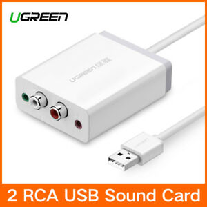 Ugreen USB External Stereo Sound Card Audio Adapter 3.5mm Aux and 2RCA Converter