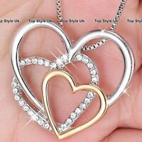 BLACK FRIDAY DEALS Gold Silver & Diamond Hearts Necklace Xmas Gifts for Her 3B