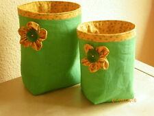 Set (2 Stück) Wollekorb, Handarbeitskorb, Utensilo - grün mit Blume