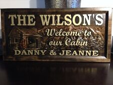 "11"" x 23"" Personalized Carved Wood Sign, Cabin Sign, Welcome Sign"